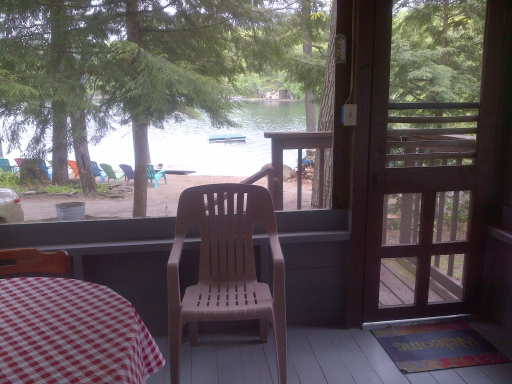 View of lake from inside of cottage 5